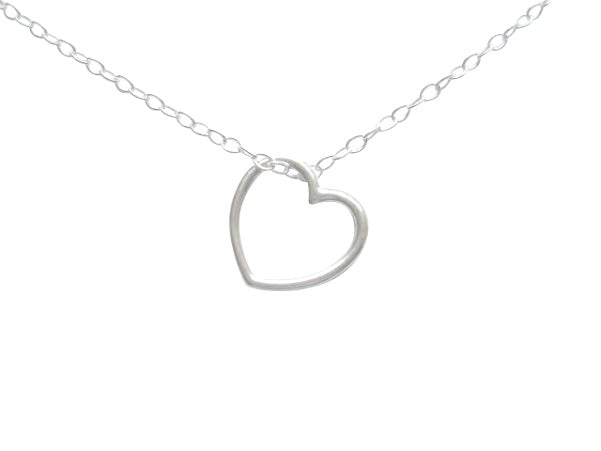 Baby and Children's Necklaces:  Sterling Silver Floating Open Heart Necklaces with Choice of Chain Length