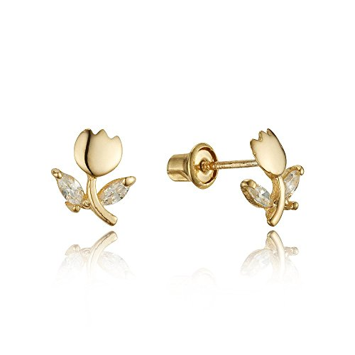 Baby and Children's Earrings:  14k Gold Clear CZ Tulip Earrings with Screw Backs