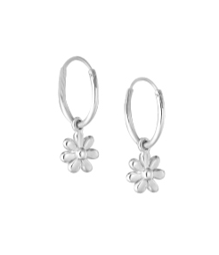 Chldren's Earrings:  Sterling Silver Sleepers with Silver Flowers