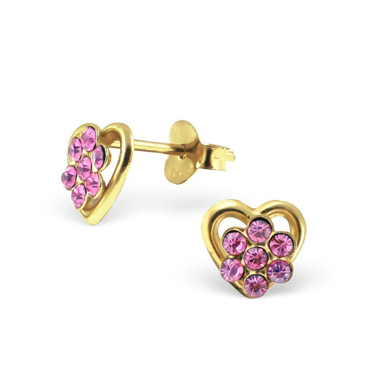 Children's Earrings:  14k Gold Over Sterling Silver Flower on Heart Earrings