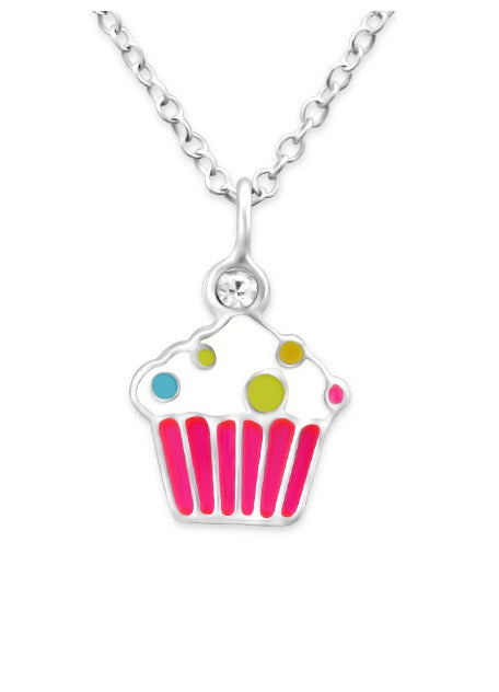 Children's Necklaces:  Sterling Silver Cupcake Necklace 39cm Chain