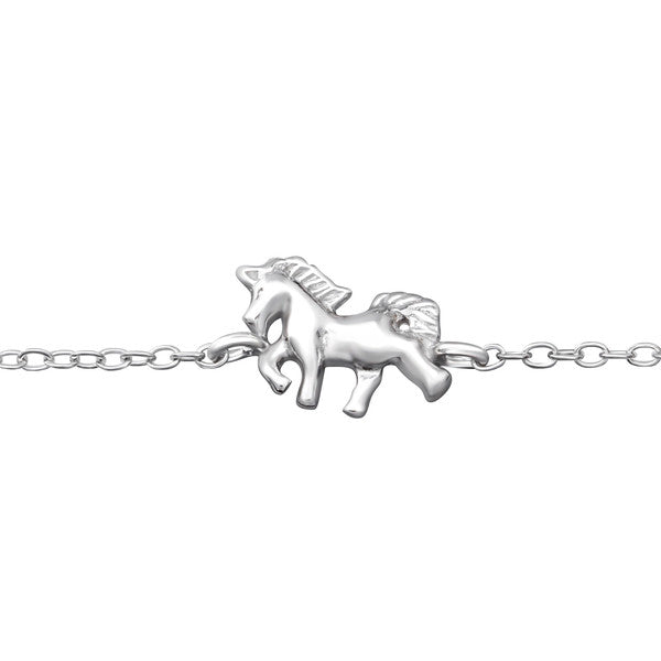 Children's Bracelets:  Sterling Silver Unicorns Bracelets for Ages 2 - 6