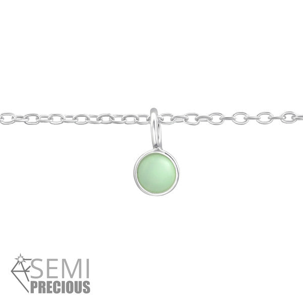 Baby Anklet/Children's Bracelet:  Sterling Silver Genuine Amazonite Birthstone Anklet/Bracelet with Gift Box