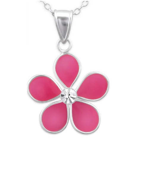 Children's Necklaces:  Sterling Silver Pink Flower with Crystal on Extendable Chain