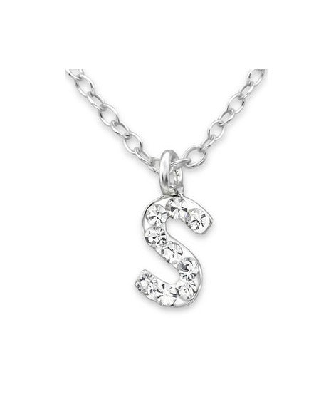 "Baby and Children's Necklaces:  Sterling Silver CZ Initial ""S"" Necklace"