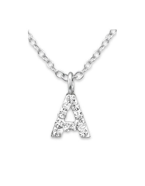 "Baby and Children's Necklaces:  Sterling Silver CZ Initial ""A"" Necklace"