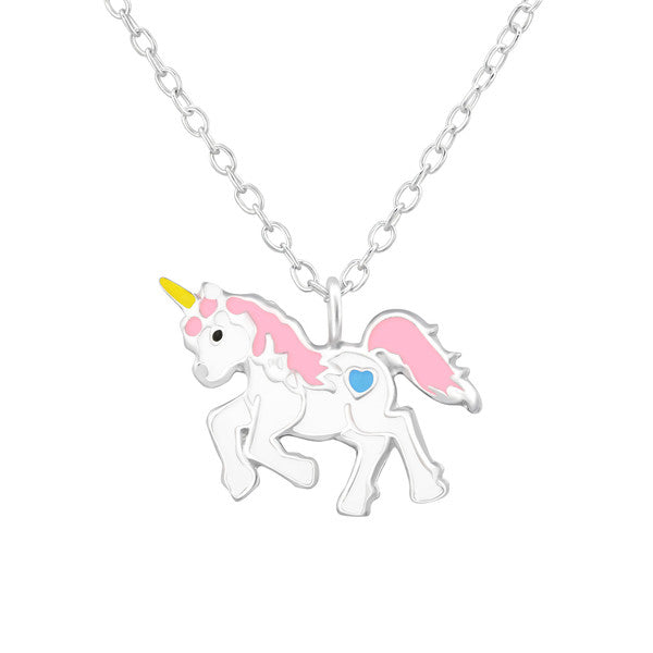 Children's Necklaces:  Sterling Silver Unicorns Necklaces Pink and Blue