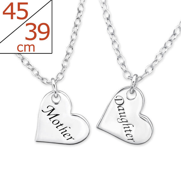 "Mother/Daughter Necklace Sets:  Sterling Silver Heart Necklaces Stamped ""Mother"" and ""Daughter"""