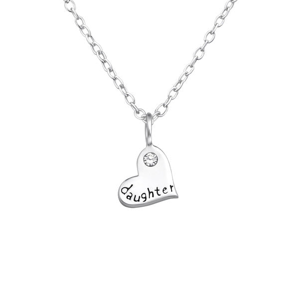 "Children's Necklaces:  Sterling Silver ""Daughter"" Heart Necklace"