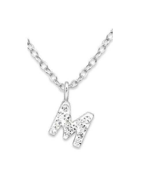 "Baby and Children's Necklaces:  Sterling Silver CZ Initial ""M"" Necklace"
