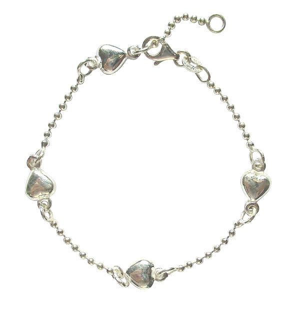 Children's Bracelets:  Sterling Silver Ball Bead Bracelets with Puffed Hearts