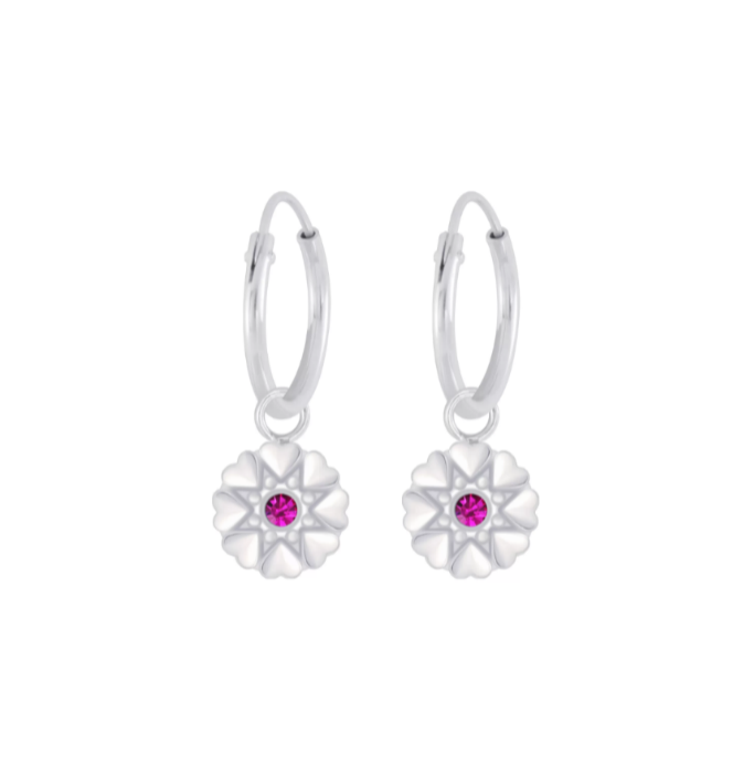 Children's Earrings:  Sterling Silver Sleepers with Silver Flowers - Fuchsia CZ