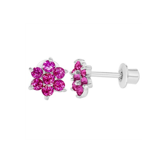 Children's Earrings:  Sterling Silver Clustered Ruby CZ Flowers with Screw Backs