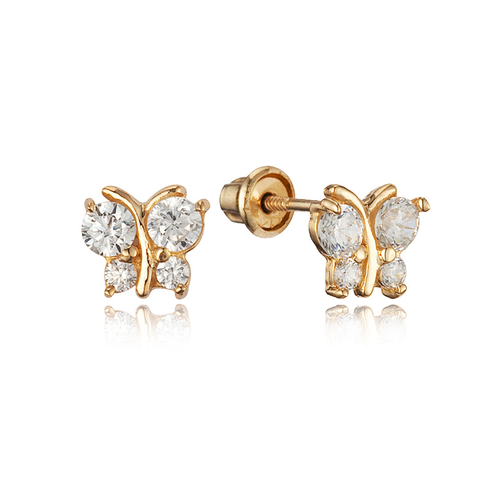 Baby and Children's Earrings:  14k Gold Clear CZ Butterflies with Screw Backs with Gift Box