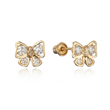 Children's Earrings:  14k Gold/Clear CZ Bows with Screw Backs with Gift Box
