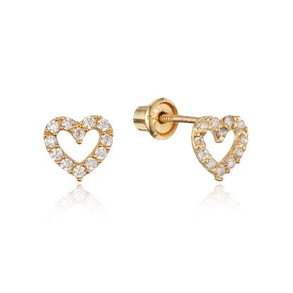 Baby and Children's Earrings:  14k Gold Clear CZ Open Heart Screw Back Earrings with Gift Box