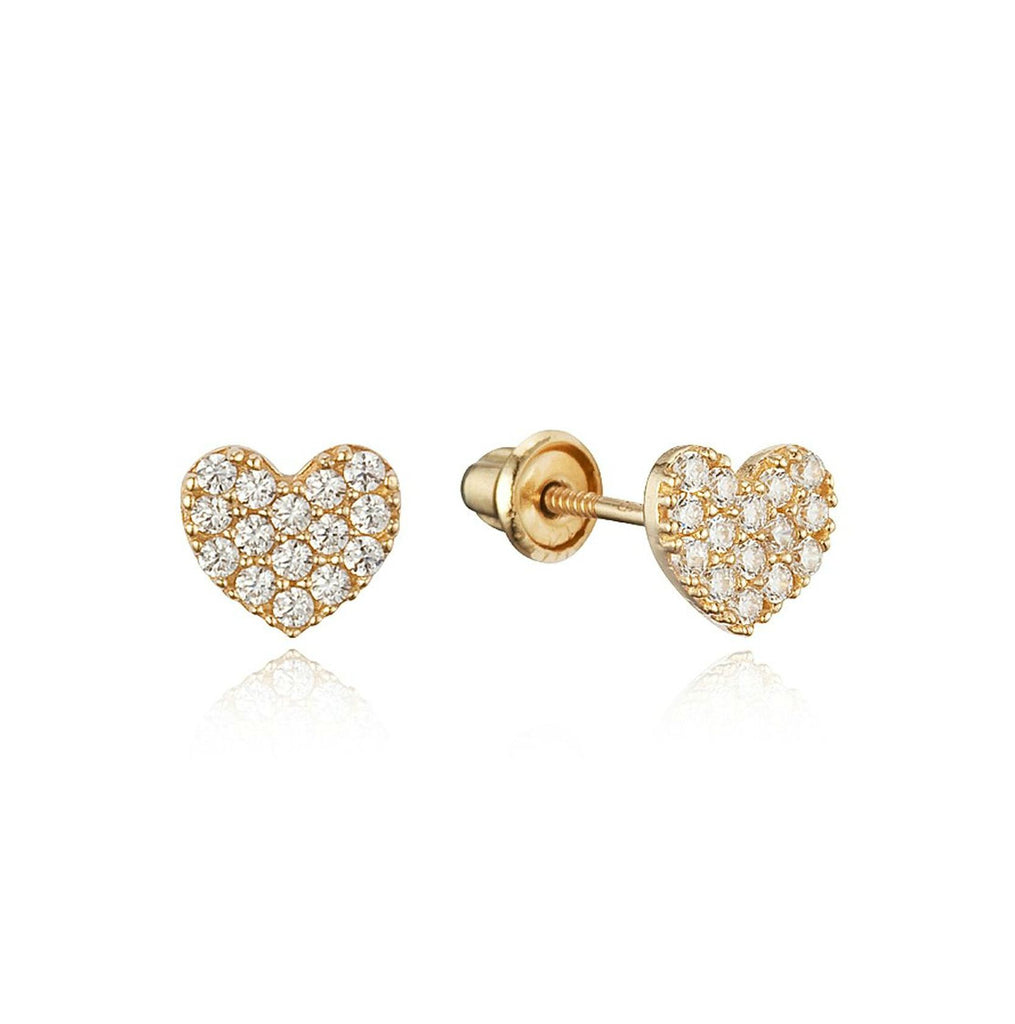 Baby and Children's Earrings:  14k Gold Clear CZ Encrusted Hearts with Screw Backs with Gift Box