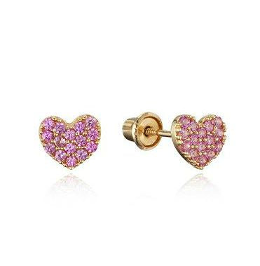 Baby and Children's Earrings:  14k Gold Pink CZ Encrusted Hearts with Screw Backs with Gift Box