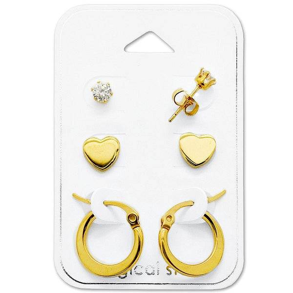 Children's and Teens' Earrings:  Surgical Steel, Gold Plated Gift Pack of 3.