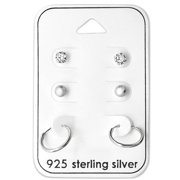 Baby and Childrens Earrings:  Sterling Silver 3 x Pair Gift Pack Studs and Sleepers