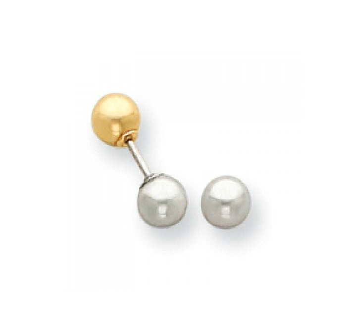 Baby and Children's Earrings:  14K Yellow and White Gold Reversible Earrings with Safety Screw Backs and Gift Box