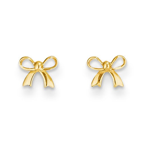 Baby and Children's Earrings:  14K Gold Bow Earrings with Friction Backs and Quality Gift Box