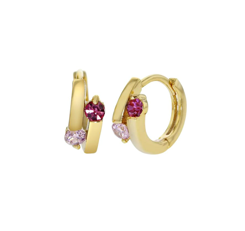 Children's earrings:  18k Gold Filled Children's Huggies with Pink CZ