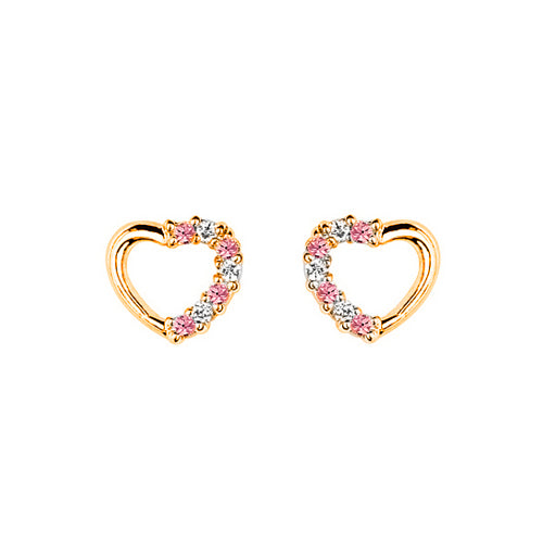 Children's Earrings:  Gold Plated Pink and White CZ Hearts with Safety Screw Backs