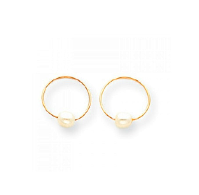 Baby and Children's Earrings:  14K Gold Hoops (Sleepers) with Cultured Pearls + Complimentary Gift Box