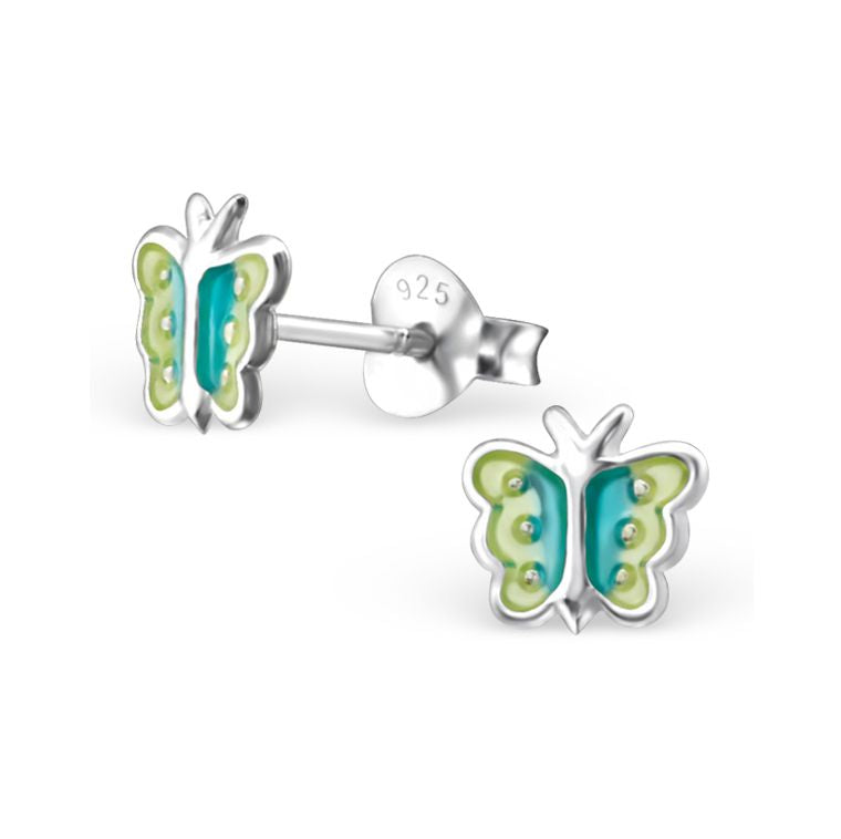 Baby and Children's Earrings:  Sterling Silver Iridescent Green Blue Butterflies
