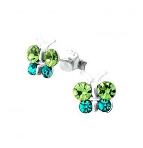 Children's Earrings:  Sterling Silver, Green/Blue CZ Butterfly Earrings
