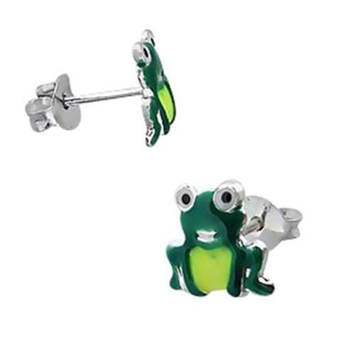 Children's Earrings:  Sterling Silver Green Frog Earrings