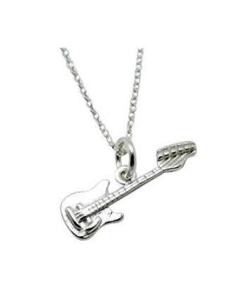 Children's Necklaces:  Sterling Silver Italian-made Guitar Necklaces on Your Choice of Chain Length
