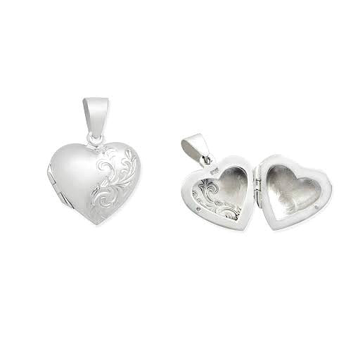 Children's and Teens' Lockets:  Sterling Silver, Embossed Heart Lockets on Chain Length of Choice