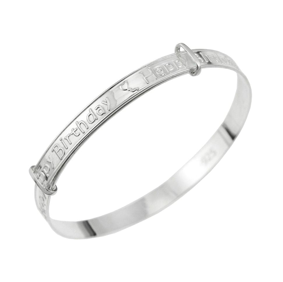 Baby Bangles:  Sterling Silver Happy Birthday Expanding Bangles with Complimentary Gift Box