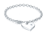 Children's Bracelets:  Sterling Silver Rolo Bracelets with Heart Charm with CZ