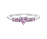 Children's Rings:  Sterling Silver, Pink CZ Heart Rings Size 4 with Gift Box