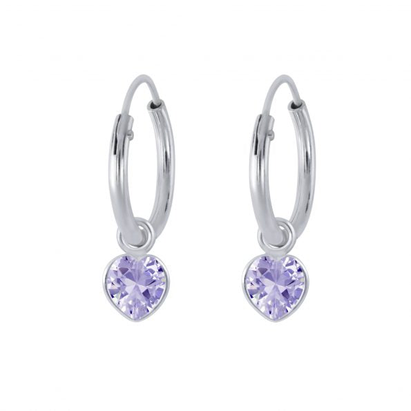 Children's Earrings:  Sterling Silver Sleepers with Lavender CZ Hearts