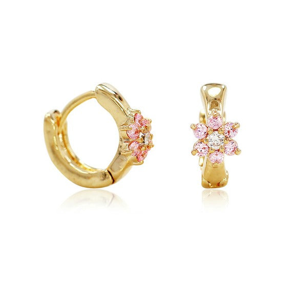 Baby and Children's Earrings:  18k Gold Filled Huggies with Pink Crystal Flower