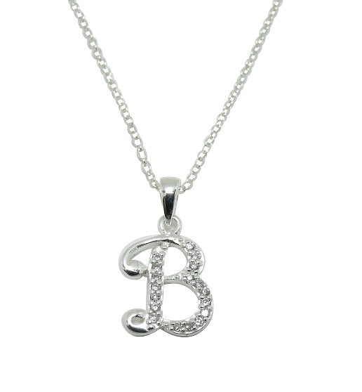 Children's Necklaces:  Sterling Silver/CZ Initial B Necklaces