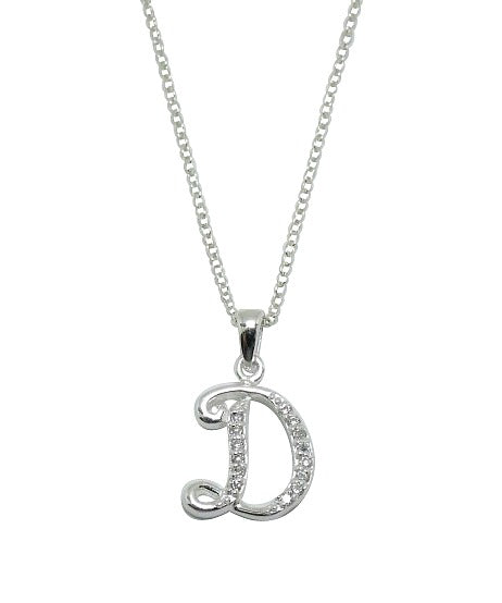 Children's Necklaces:  Sterling Silver/CZ Initial D Necklaces on Your Choice of Chain Length