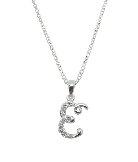 Children's Necklaces:  Sterling Silver/CZ Initial E Necklaces