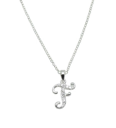 Children's Necklaces:  Sterling Silver/CZ Initial F Necklaces