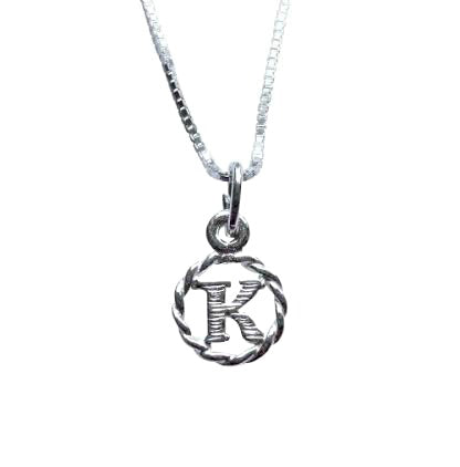 Baby and Children's Necklaces:  Sterling Silver Initial K Necklaces