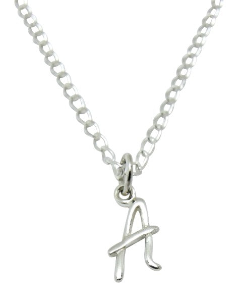 "Baby and Children's Necklaces:  Sterling Silver Initial ""A"""