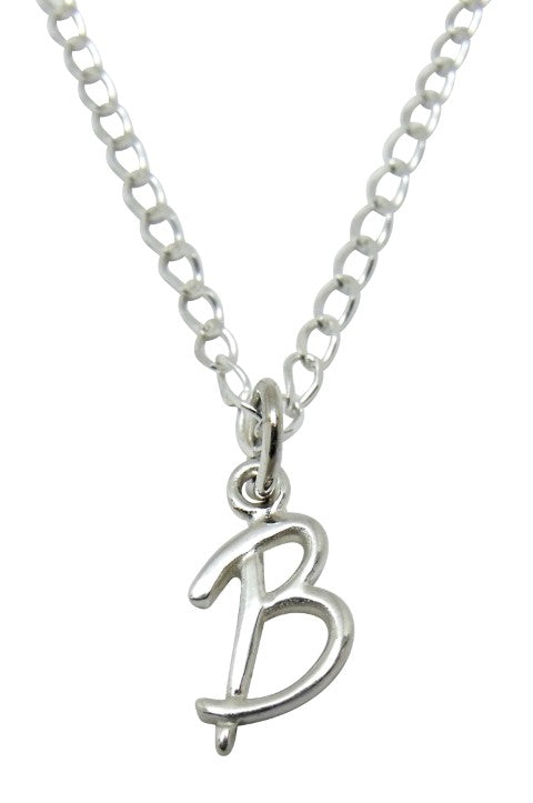 "Baby and Children's Necklaces:  Sterling Silver Initial ""B"""