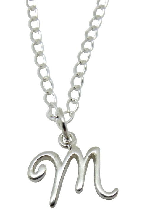 "Baby and Children's Necklaces:  Sterling Silver Initial ""M"""