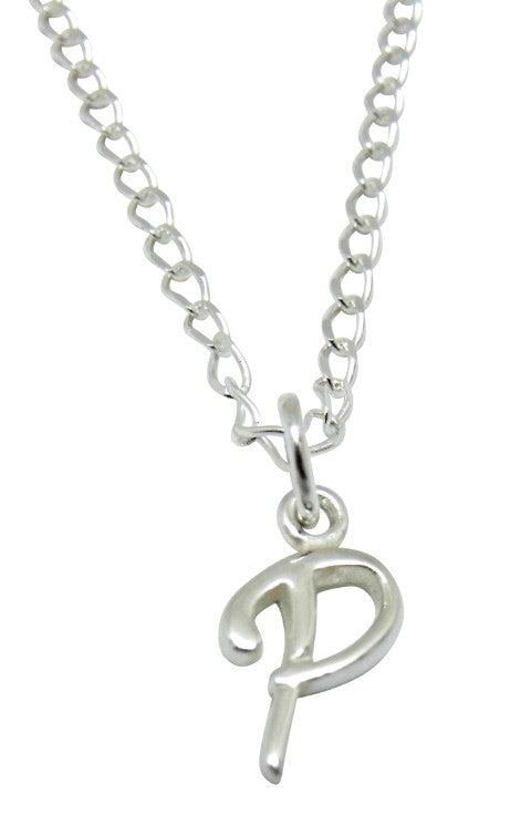 "Baby and Children's Necklaces:  Sterling Silver Initial ""P"""