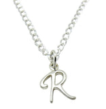 "Baby and Children's Necklaces:  Sterling Silver Initial ""R"""