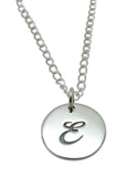 "Baby and Children's Necklaces:  Sterling Silver Initial ""E"" Disk"